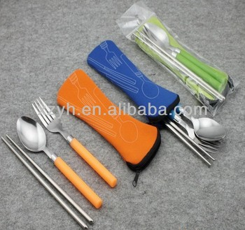 3pcs set flatware with zipper bag, spoon, fork and chopsticks