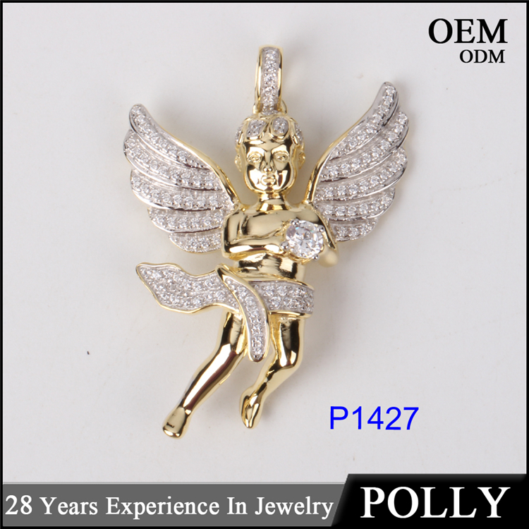 10K Gold Jewellery Hot Sales Angel Wing Zircon Jewelry Zircon Pendant