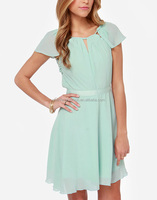 CHEFON Fluttering cap sleeve petite pleats banded waist sweet escape mint blue dress