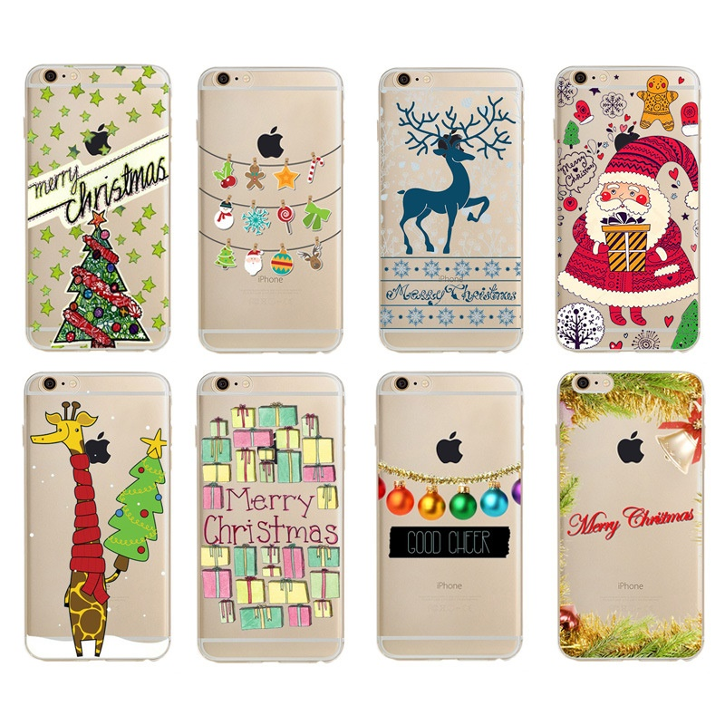 2016 hot selling shockproof christmas decor cell tpu phone case for iphone 7 7Plus