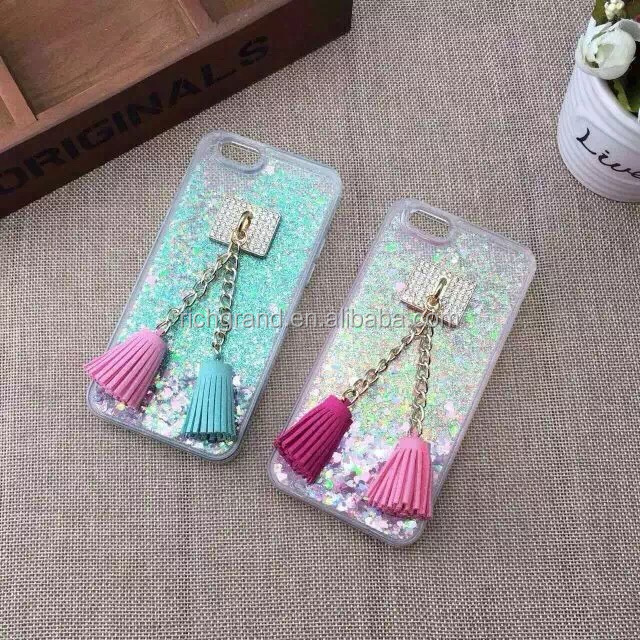 Bling Glitter star quicksand Tassels Cases for iphone5 SE 6 6S 6 plus