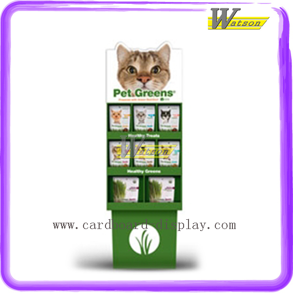 Supermarket Promotion POP Floor Corrugated Paper Pet Foods Display
