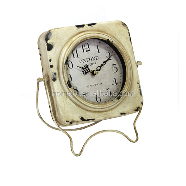 Fancy Decorative MDF Antique Clock Wholesale Price Square Shape Metal Table Clock