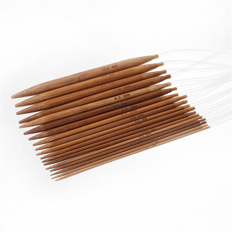 "Natural Bamboo Circular Knitting Needles 80cm(31 4/8"") long, Needle Thickness: 10mm - 2mm, 1 Set (18 Pairs/Set)"