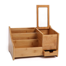 Bamboo TV Remote Control Holder Organizer, With Drawer and Mirror, Caddy, Office, Pens, Makeup Brushes, Nightstand, Holder