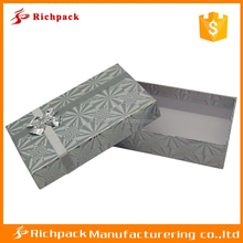 Fancy silver Hologram Paper gift box with ribbon bow design