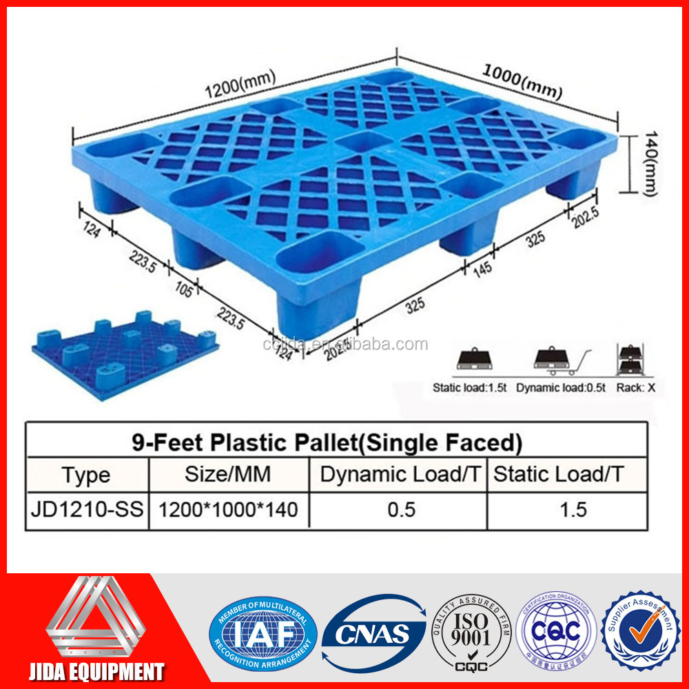 Heavy duty single faced style 9-feet plastic pallets 1200 x 1000mm