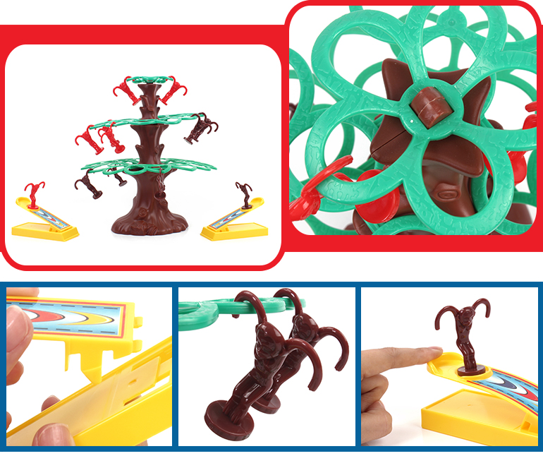 Children favorite educational catapult toy falling monkey game on the plastic tree