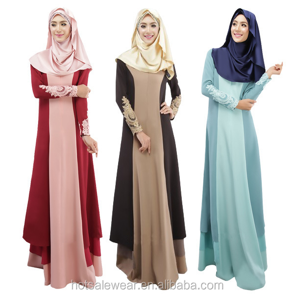 Wholesale Fashion Long Sleeve Muslim Dress Patchwork Abaya Arab Kaftan JJ-021#