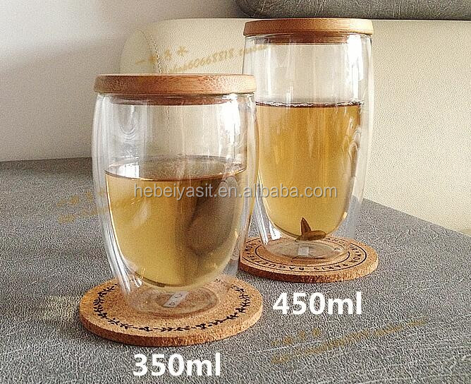 Borosilicate 450ml 16oz Double Wall Glass Tea Cups With Bamboo lid