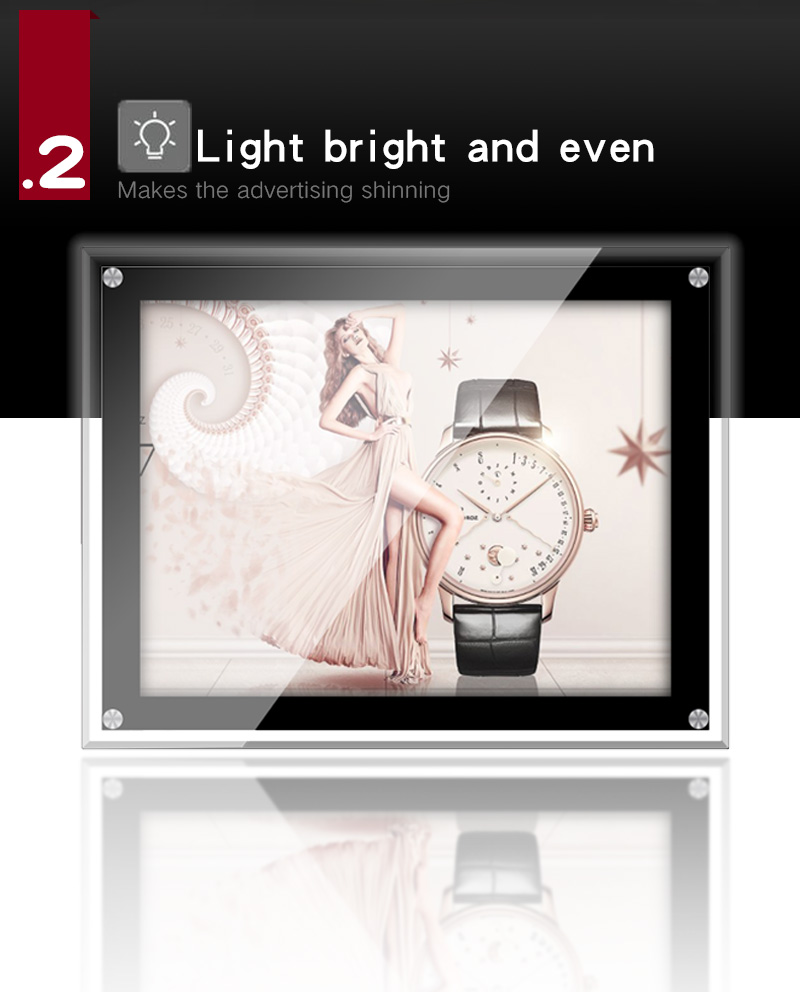 Ultra-thin A4 A3 OEM ODM Wall Mounted Movie Restagurant Poster  Crystal Advertising Light Box