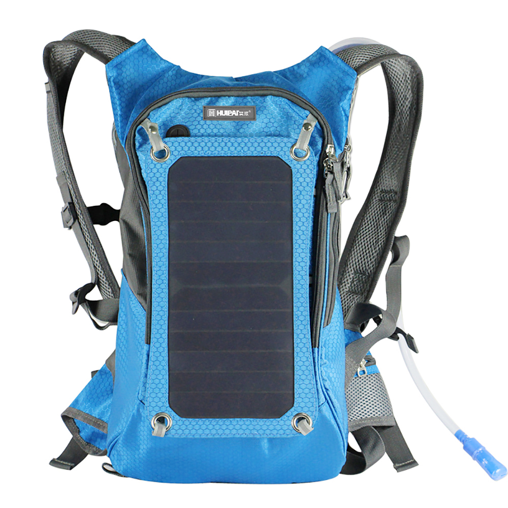 Portable solar charger bag with water bag hiking backpack