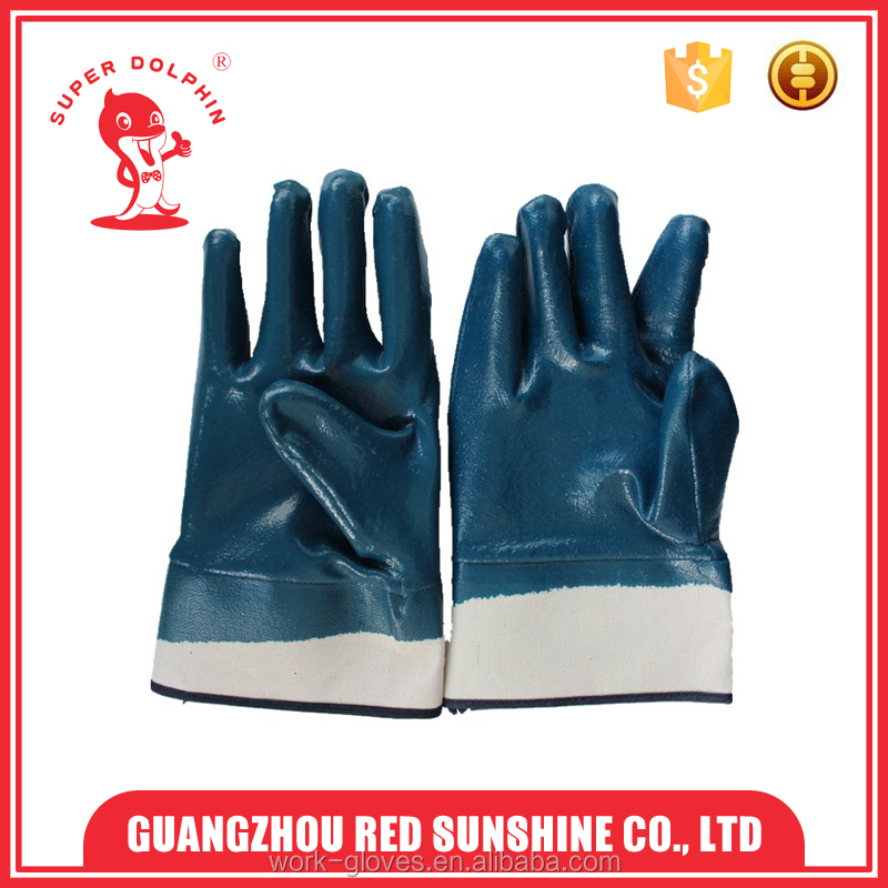 New design cotton lining cotton cloth gloves Dark blue nitrile dipped cotton gloves