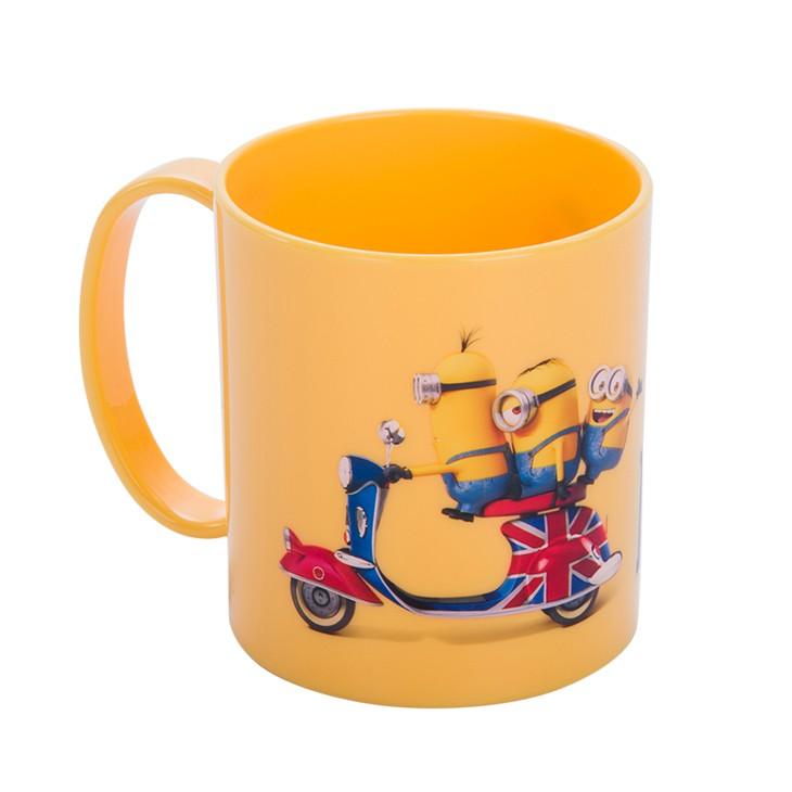 11oz cartoon printing plastic mug with handle