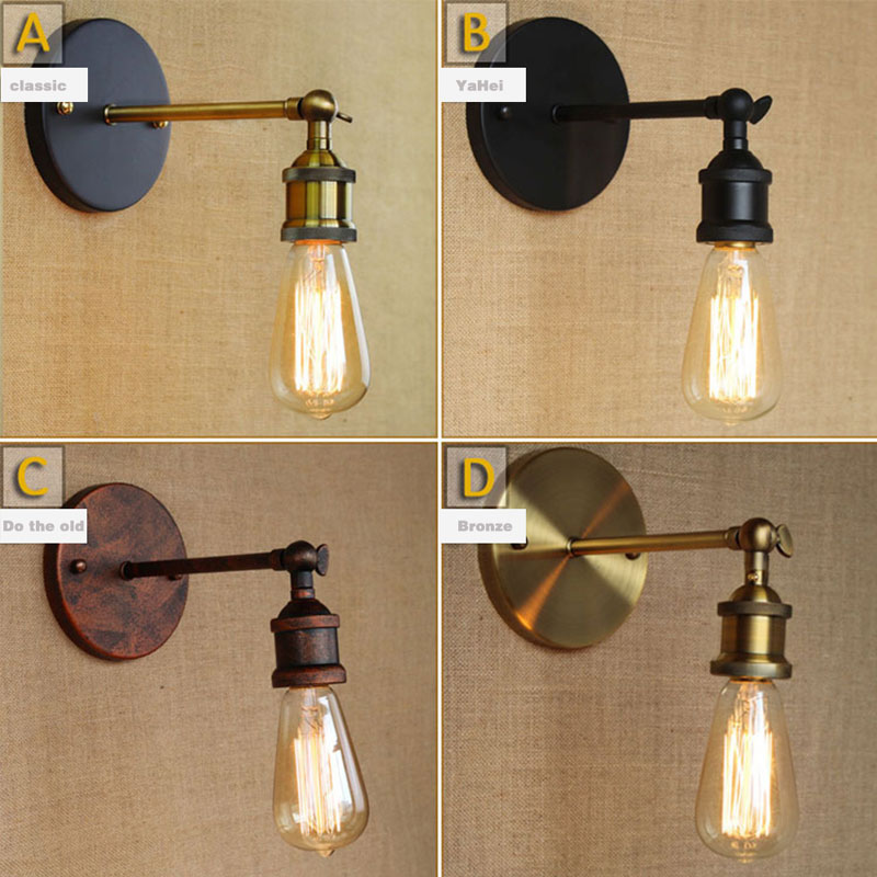 STL Antique Wall Lights E27 Plated Loft Retro Vintage Wall Lamp with Metal Base and Edison Bulbs Sconce Wall Lights 110V 220V Bl
