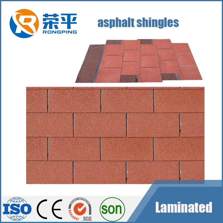 Bituman tiles 3-tab asphalt shingles tiles roofing building materials manufacturer wholesale price for Chile market red