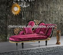 DanXueYa french empire furniture-beautiful red hand carved flower wood frame with double seat chesterfield sofa F07B#