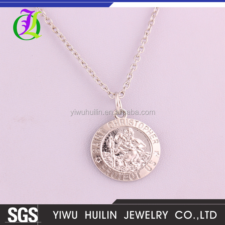 A500416 Yiwu Huilin Jewelry Commemorative COINS SAINT CHRISTOPHER PROTECT US pendant long thin chain necklace
