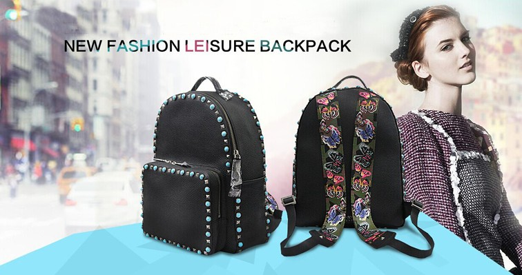 2016 new arrival wholesale fashionable stylish backpack bag for girls