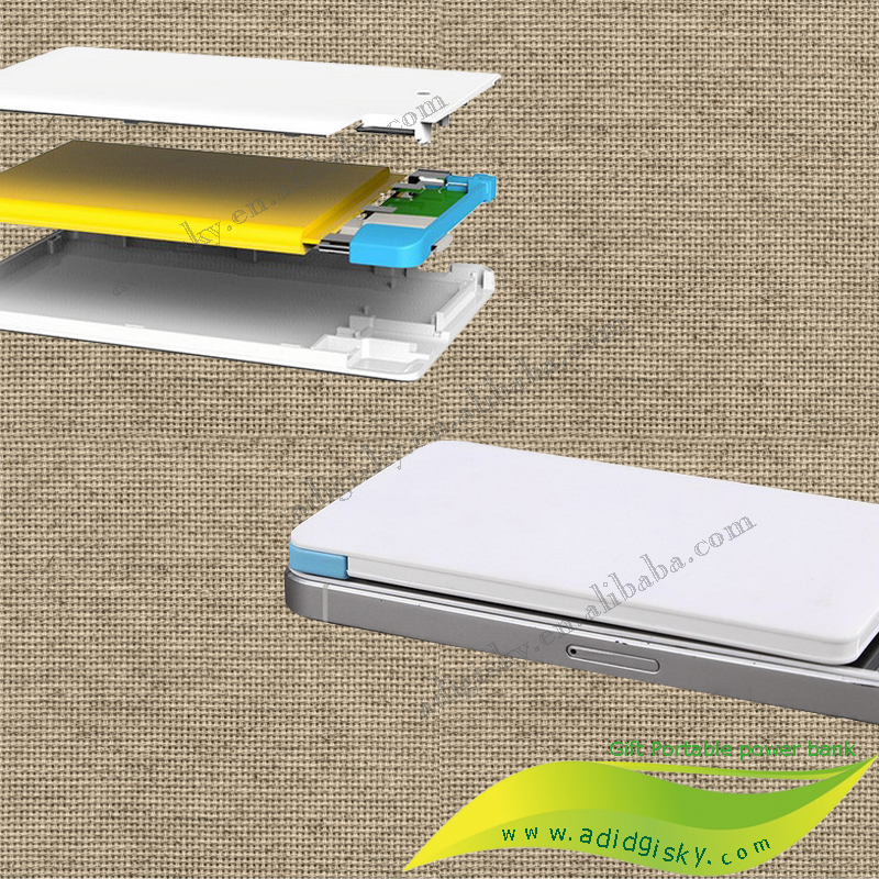 super slim business card design portable power banks 2200mah built in cable power banks for digital products