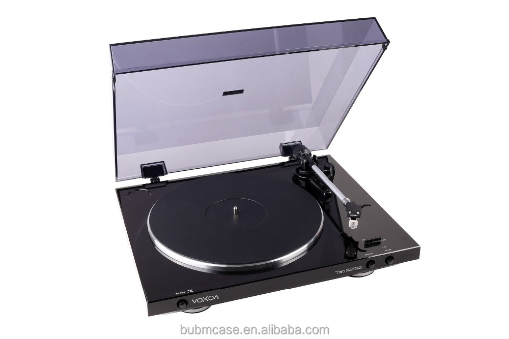 BLACK VOXOA T50 Belt Drive Vinyl Turntable LP/Portable USB DJ Turntable Record Player