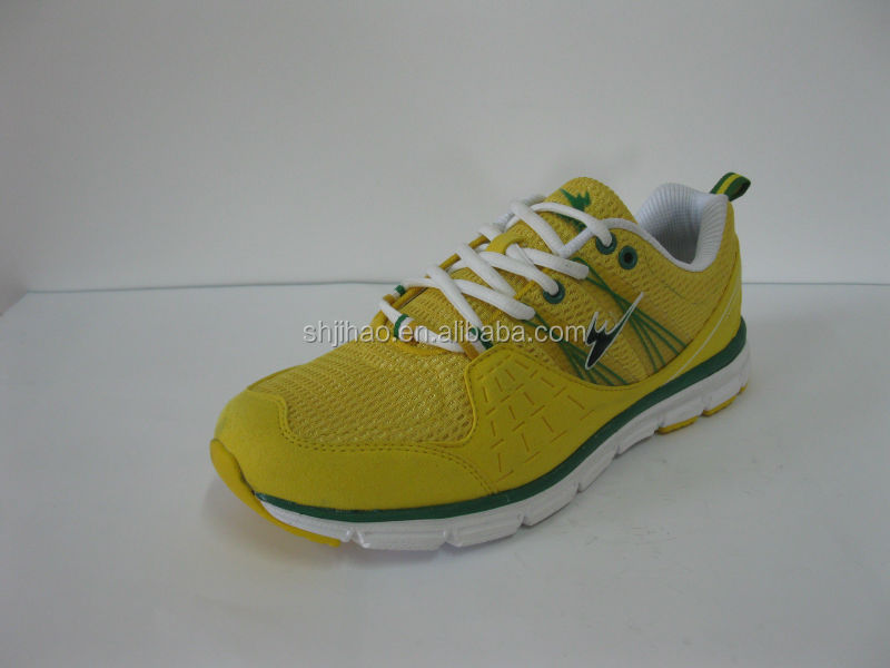 2016 new durable yellow kids sport shoes lace-up running shoes