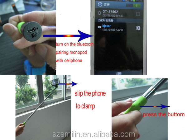 2014 factory wholesale kjstar Wireless Monopod Stick with smart phone holder excellent quality new Z07-5