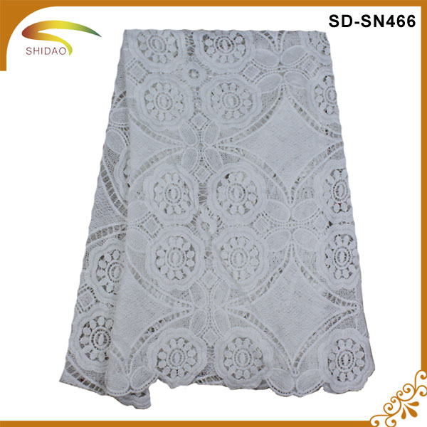 custom fashional wholesale milk silk embroidery water soluble cord lace fabric 2016,white cord lace fabric SD-SN00466