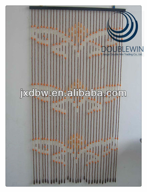 Screen Painted Wood Bead Door Curtains