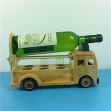 Customized nice look wooden fire truck model as bar single bottle wine rack