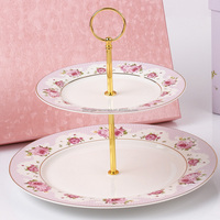 China factory made elegant design ceramic porcelain birthday cake plate