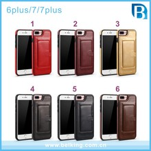 Simple class convince Single card leather cover case for iphone 6 plus 7 7plus with 6 colors