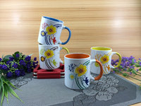 HuNan factory 11OZ flower design decal printed, color inside straight shape ceramic coffee mugs/stonware tea cup, KL8003-10135