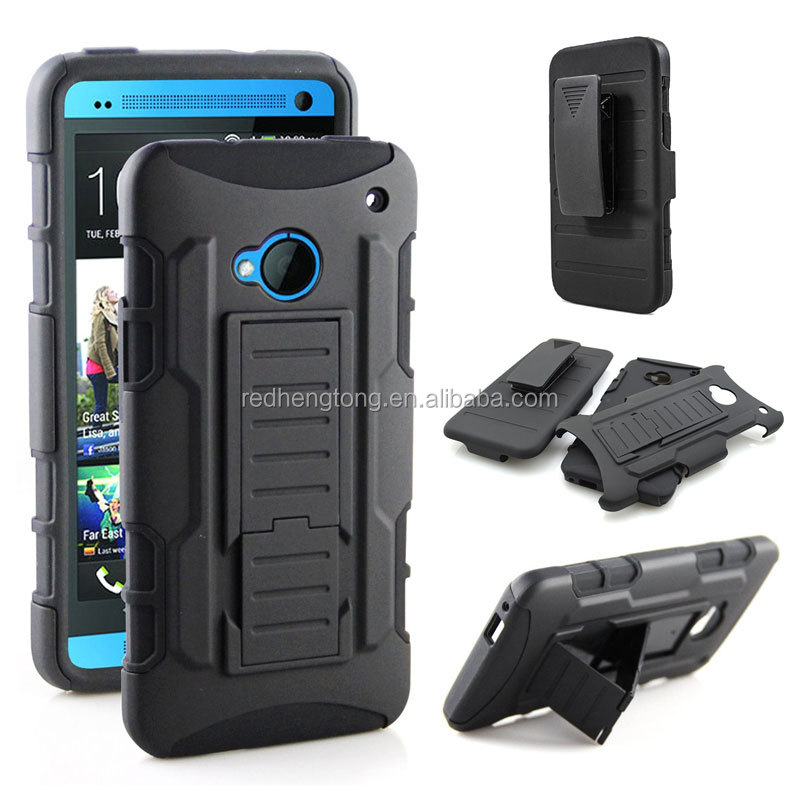 Black Future Armor Case Mobile Phone PC+Silicone Hard Back Cover For HTC M7