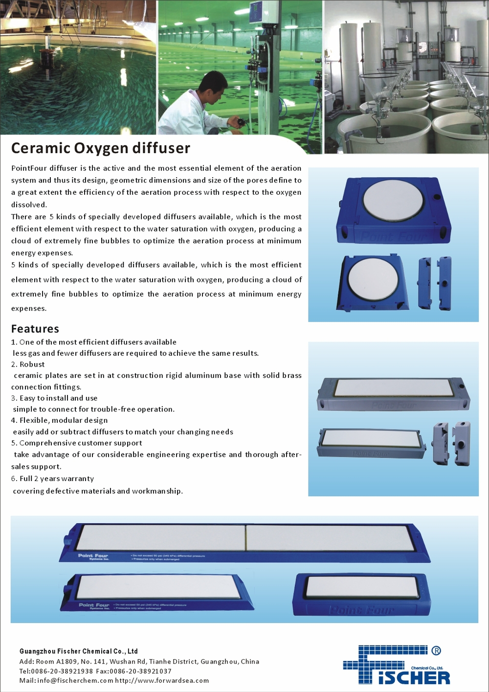 Ceramic Oxygen Diffusers for the Recirculating Aquaculture System