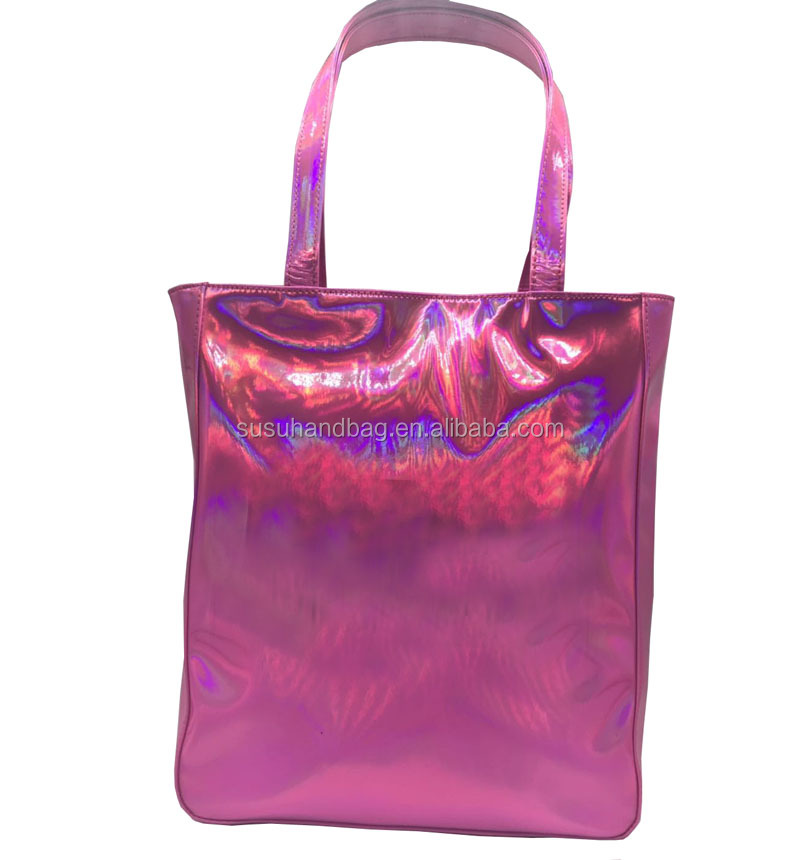 Pink Holographic PU Bags Tote With Handles