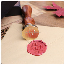 Long handle wooden stamp wax seal stamp metal embossing stamp with candle