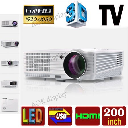 HD LED Home Theater Projector 1080P Video Projector Support Home Moive, Games, Meeting, Teaching