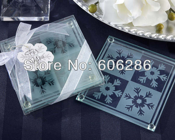 square snow Glass Coaster party giveaways to your guest 2013 wedding favors