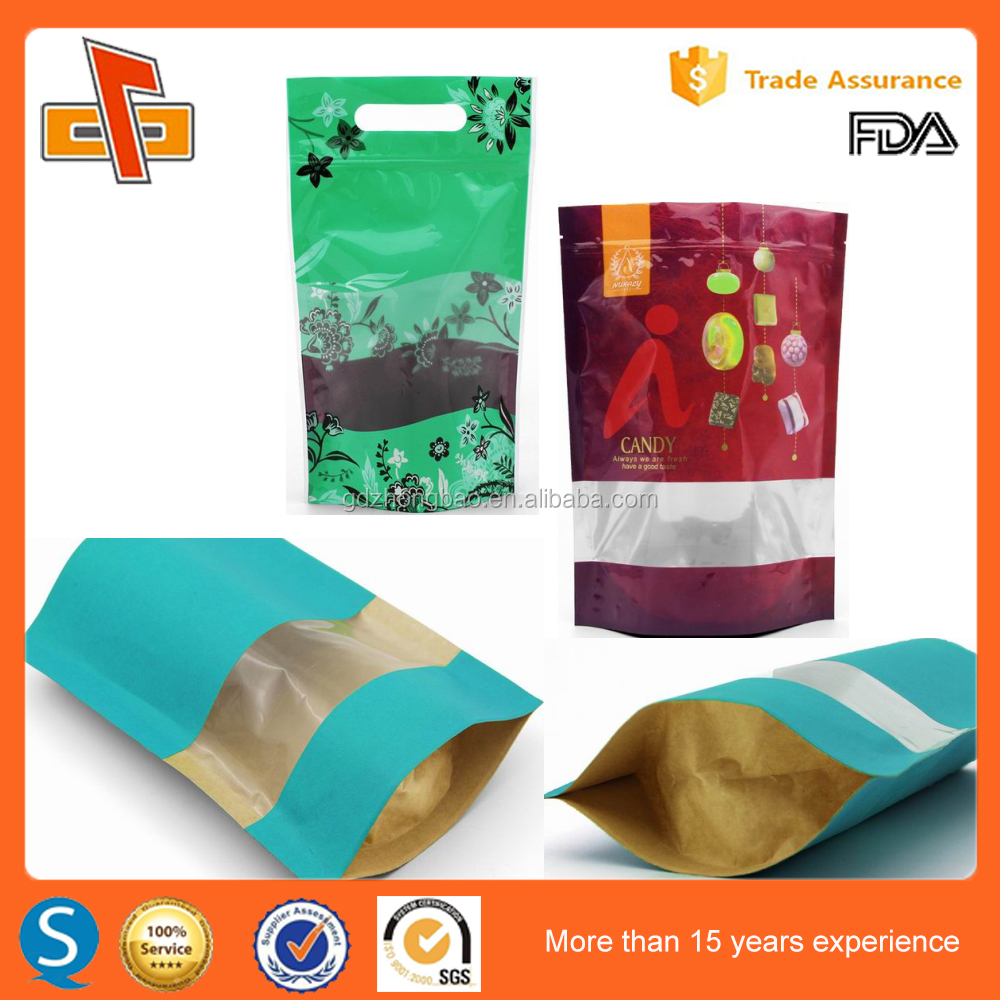 Alibaba Made in China Custom private logo printing <strong>plastic</strong> and paper stand up gift bag with window With Factory Price