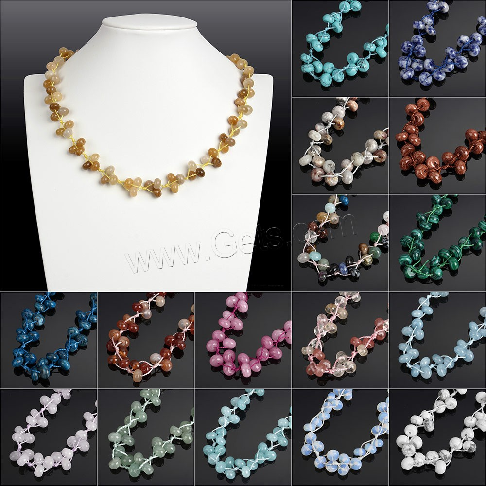 Multicolor Flat Round Gemstone Women Necklaces, Different Materials for Choice