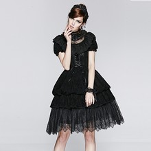 LQ-070 Short Sleeve Black Lace Sexy Gothic Lolita Punk Dresses