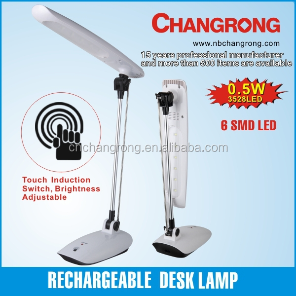 Rechargeable desk lamp with touch induction switch