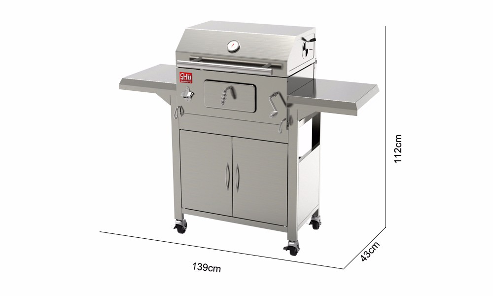 large indoor kitchen restaurant stainless steel charcoal bbq grill - Stainless Steel Charcoal Grill