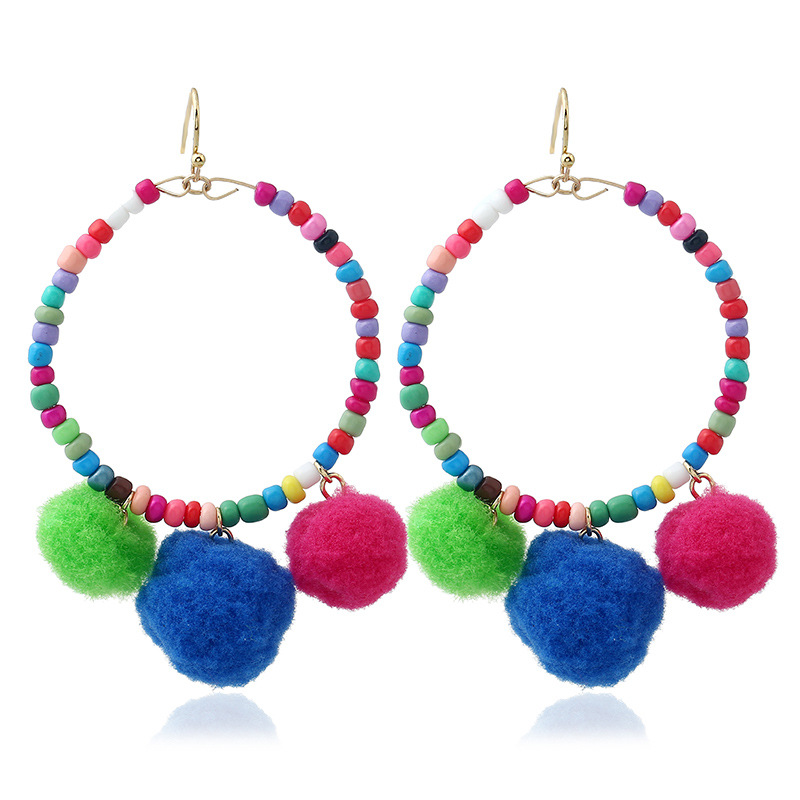 Queena Cute Bohemian Style summer Colorful statement Pompom ball drop Earrings