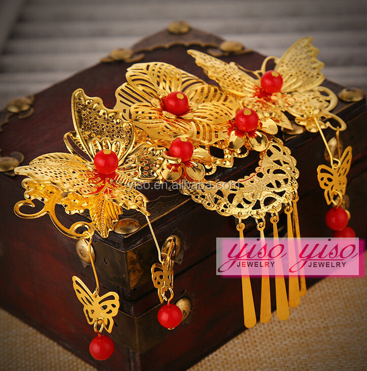 chinese wedding bridal fashion headwear vintage hair accessories