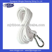 white nylon braided rope with carabiner