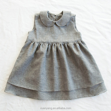 Hot selling wholesale sleeveless plain linen dress new model 2 year old baby girl dress