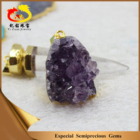 Wholesale Price Large Geodes Crystal Natural Amethyst Druzy Pendants