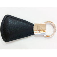 Simple Design High Quality PU Leather Metal Keychain
